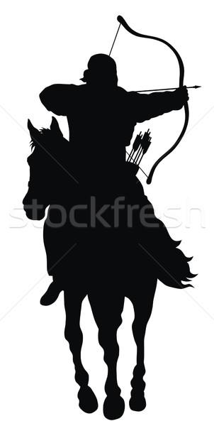 лучник аннотация верховая езда силуэта спорт лошади Сток-фото © oorka
