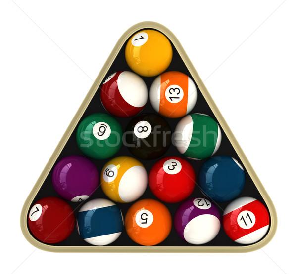 Biliárd 3d render golyók sport asztal medence Stock fotó © oorka