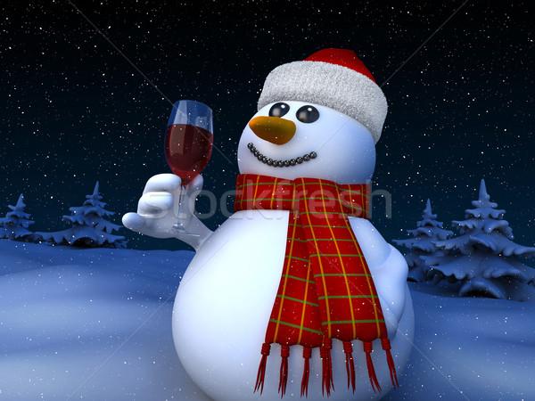 Hóember 3d render tart üveg vörösbor hó Stock fotó © oorka