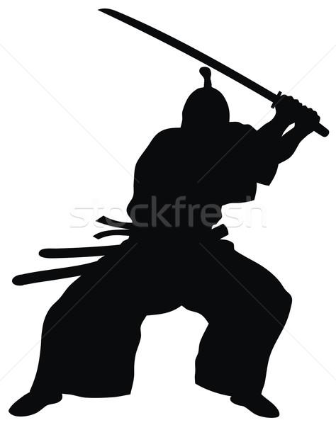 Samurai abstrato arte silhueta espada soldado Foto stock © oorka