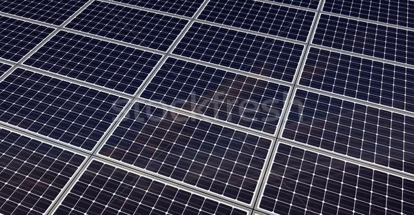 Zonnepanelen geven groene elektrische moderne Stockfoto © oorka