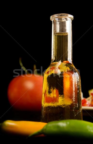 伝統的な 小 ボトル ガラス サラダ トマト ストックフォト © oorka