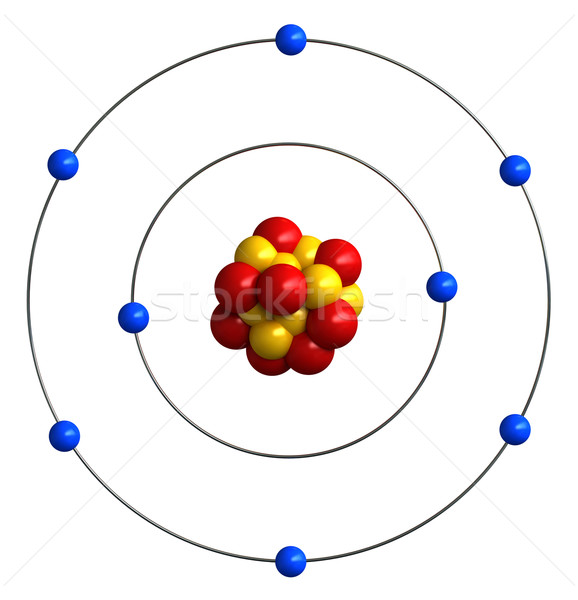 Atomi struktúra oxigén 3d render oktatás fehér Stock fotó © oorka