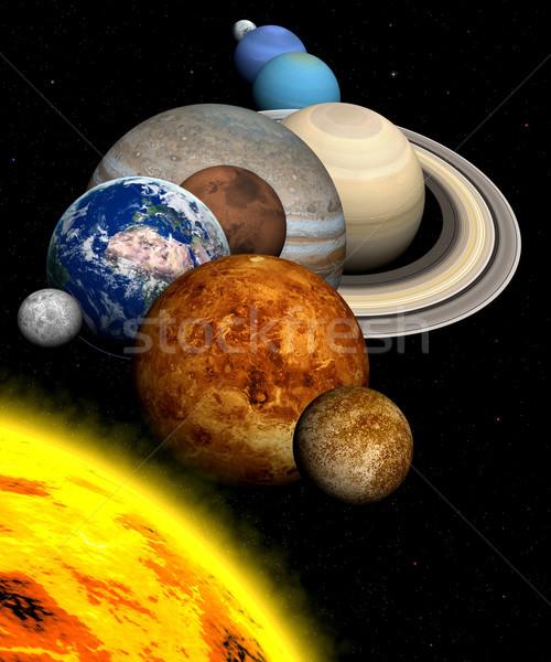 Sistemul solar planete soare Lună stele solar Imagine de stoc © oorka