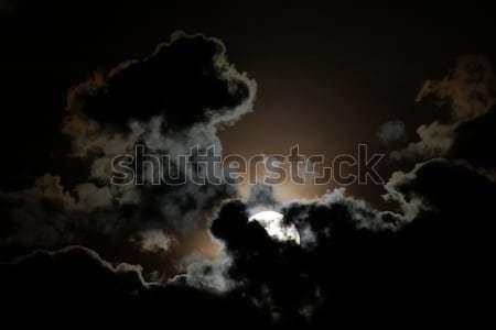Hold telihold felhők éjszakai ég égbolt éjszaka Stock fotó © oorka