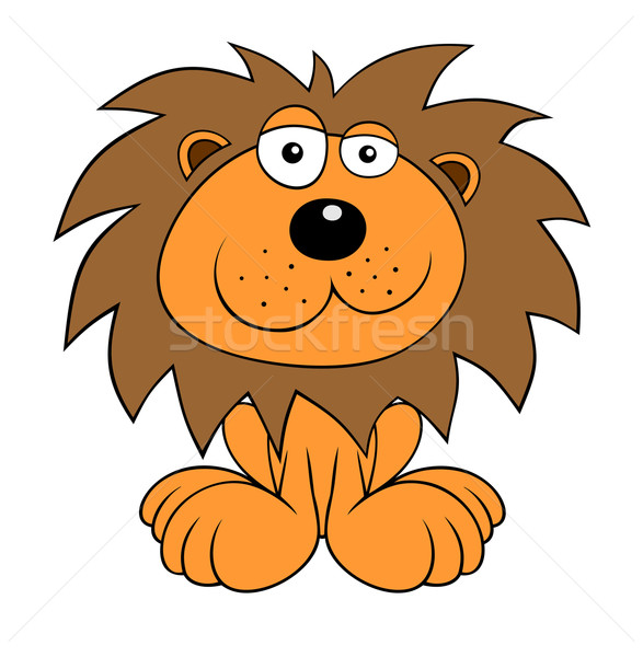Lion couleur cartoon style Kid animaux Photo stock © oorka