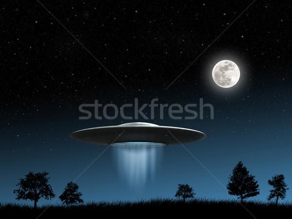Battenti rendering 3d ufo notte sfondo spazio Foto d'archivio © oorka