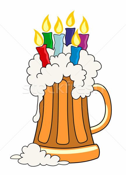 Feliz aniversário quartilho cerveja velas vidro beber Foto stock © oorka