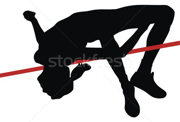 Hoogspringen abstract hoog vrouw sport springen Stockfoto © oorka