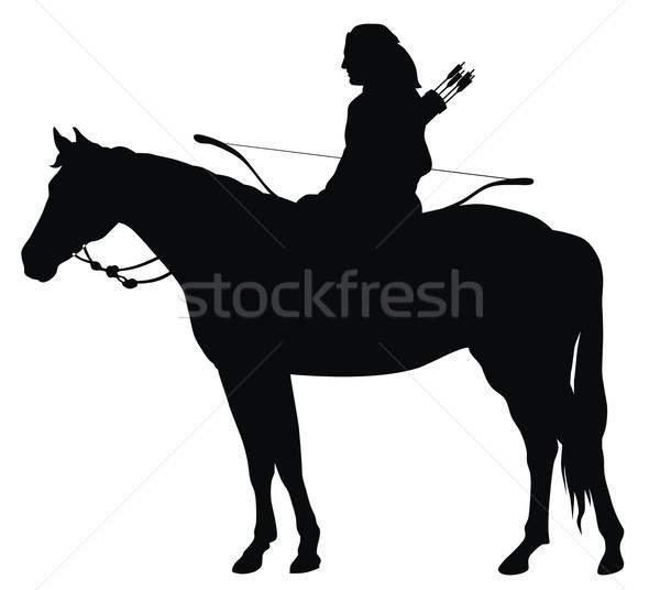 лучник аннотация древних силуэта спорт лошади Сток-фото © oorka