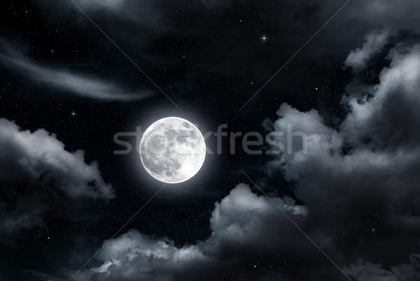 Dolunay bulutlar gece gökyüzü gökyüzü ışık ay Stok fotoğraf © oorka