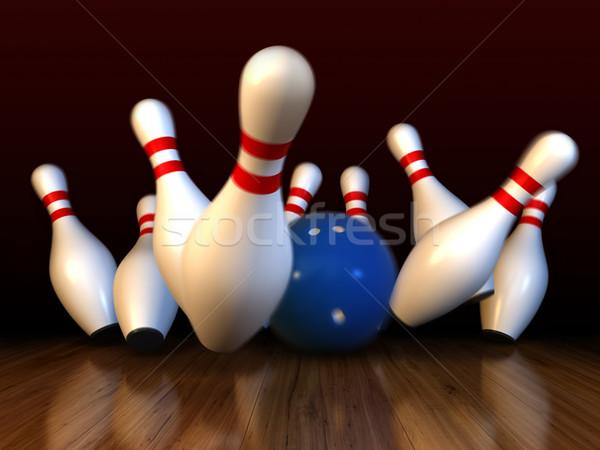 Bowling 3d render staking simulatie sport Stockfoto © oorka