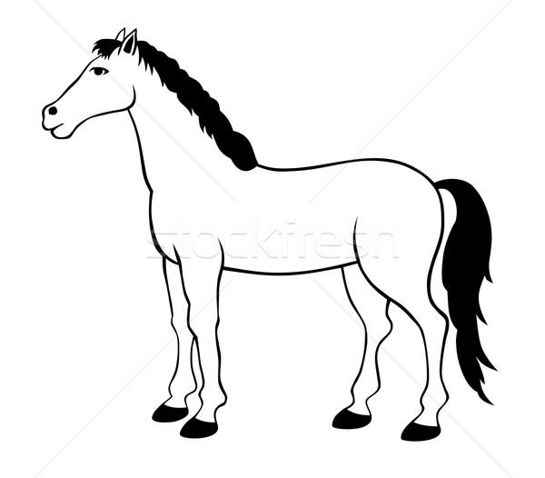 Ló áll sziluett grafikus rajz áll Stock fotó © oorka