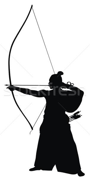 лучник аннотация Японский силуэта спорт солдата Сток-фото © oorka