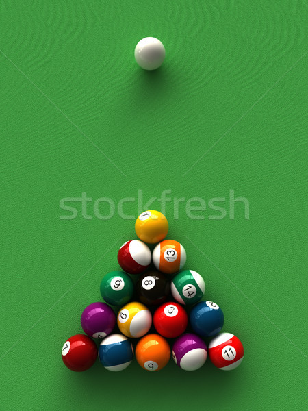 Billard 3D bâton table Photo stock © oorka