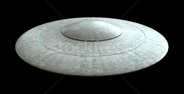3d визуализации Flying блюдце UFO изолированный черный Сток-фото © oorka