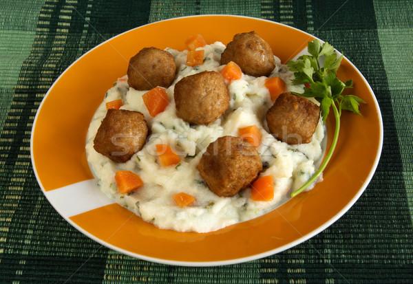 Húsgombócok házi készítésű étel tányér paradicsom ebéd Stock fotó © oorka