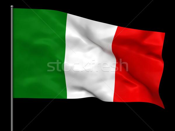 Bandeira italiana isolado preto fundo bandeira Foto stock © oorka