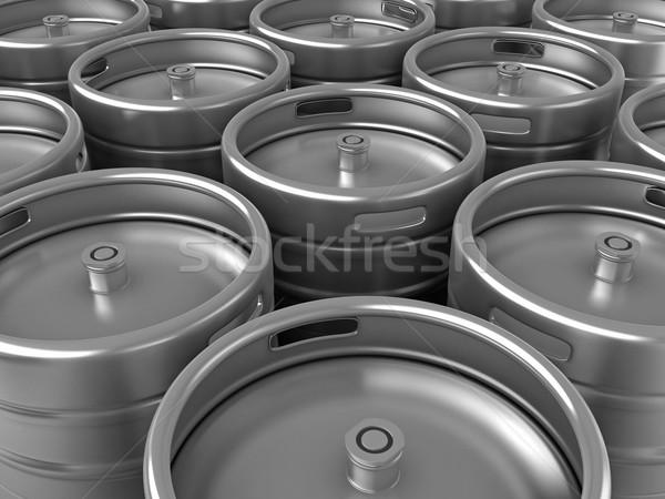 Sör 3d render csoport háttér acél alkohol Stock fotó © oorka