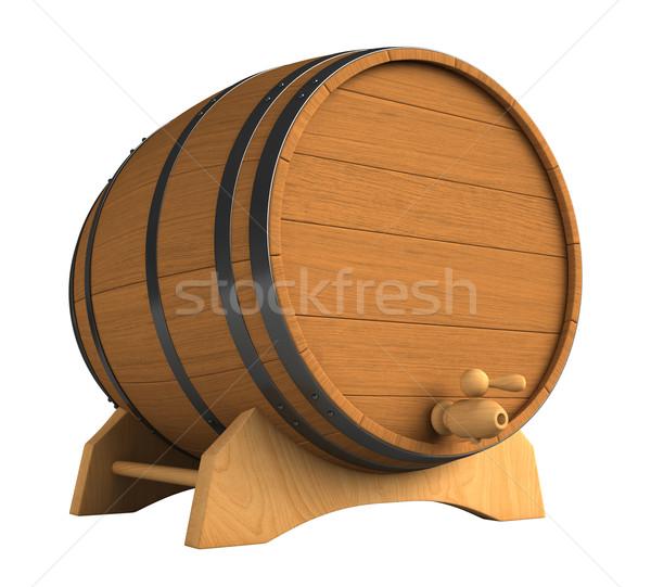 Hordó 3d render fából készült izolált fehér fa Stock fotó © oorka