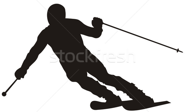 Síelő absztrakt sport tél sziluett csúszda Stock fotó © oorka