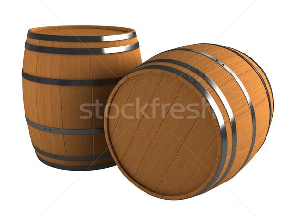 3d render houten geïsoleerd witte hout achtergrond Stockfoto © oorka