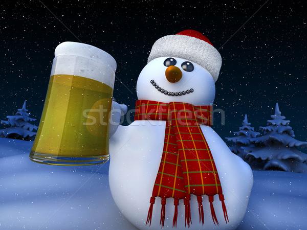 Сток-фото: снеговик · 3d · визуализации · снега · ночь · смешные