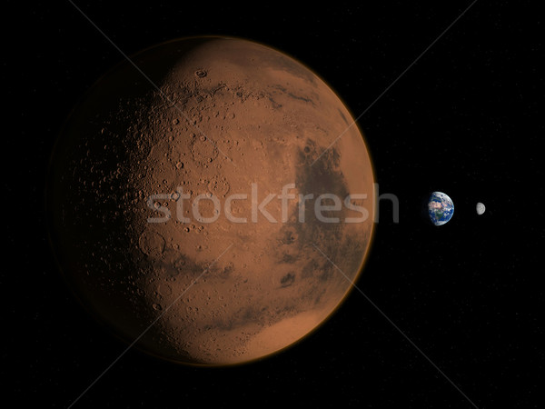 Mars, The Earth and The Moon Stock photo © oorka