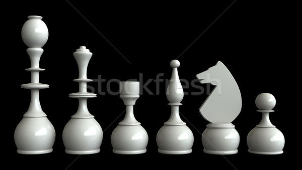 Schaken 3d render schaakstukken geïsoleerd zwarte sport Stockfoto © oorka