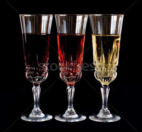 Borospoharak izolált fekete szemüveg piros fehér Stock fotó © oorka