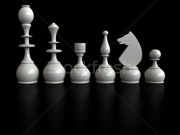 Sakk 3d render sakkfigurák fekete sport háttér Stock fotó © oorka
