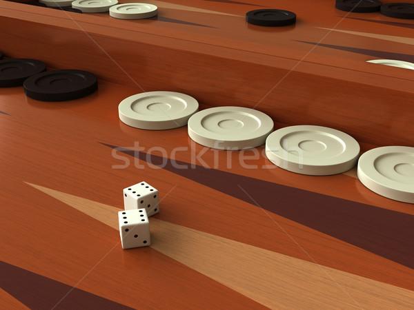Foto stock: 3d · juego · bordo · madera · deporte · blanco