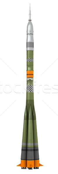 Stock fotó: űr · rakéta · 3d · render · izolált · fehér · háttér