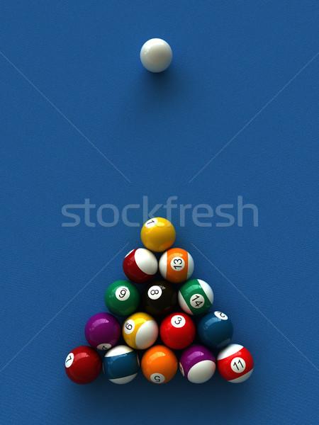Biliárd 3d render golyók asztal medence jókedv Stock fotó © oorka