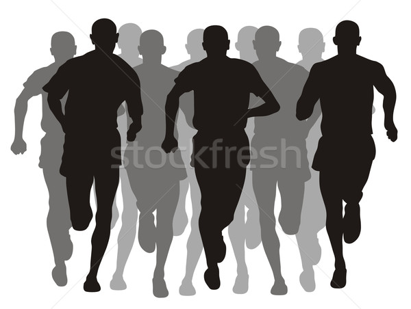 Maratona abstract evento sport uomini silhouette Foto d'archivio © oorka
