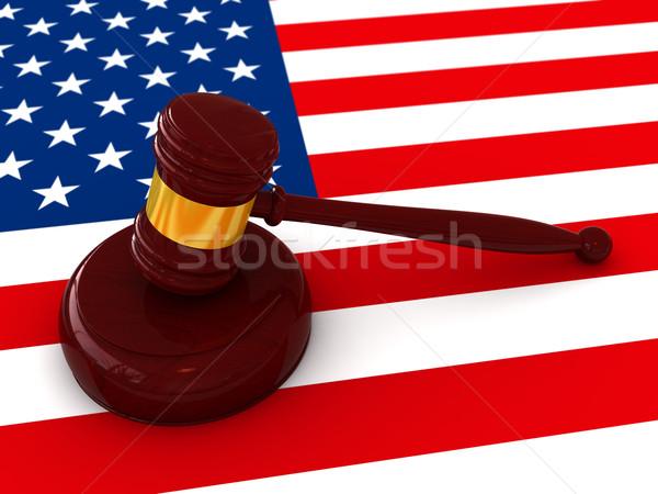 Rechter hamer 3d render Amerikaanse vlag hout achtergrond Stockfoto © oorka