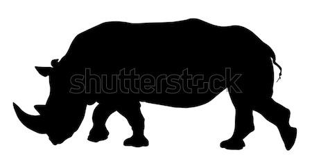 サイ シルエット アフリカ サイ ベクトル 野生動物 ストックフォト © oorka