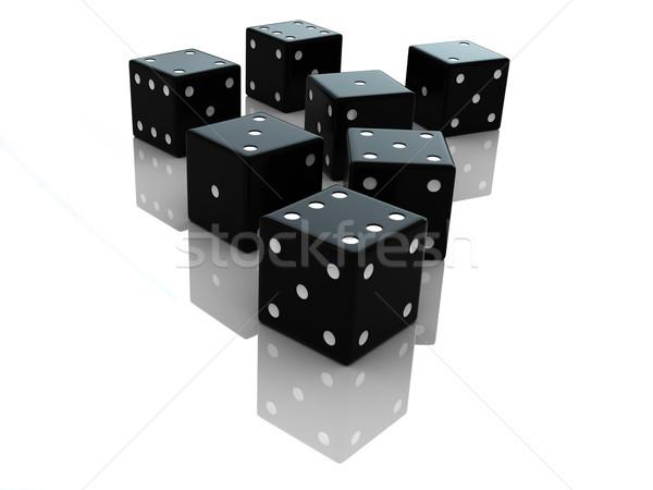 Dados 3d render preto branco fundo sucesso Foto stock © oorka