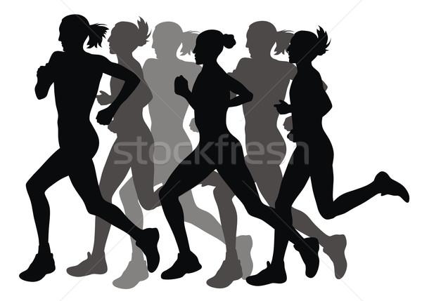 марафон аннотация Бегуны женщины спорт силуэта Сток-фото © oorka