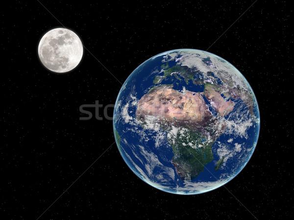 Terra lua 3d render espaço Foto stock © oorka