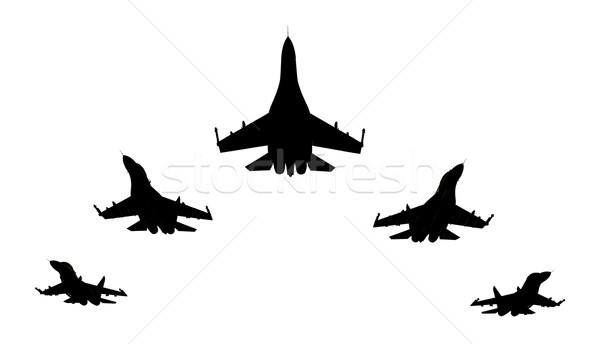 Repülőgép 3d render sziluettek fehér háttér madár Stock fotó © oorka