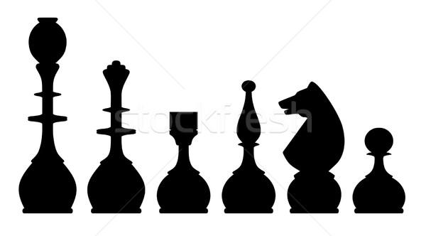Sakkfigurák sziluettek fehér ló fekete lovag Stock fotó © oorka