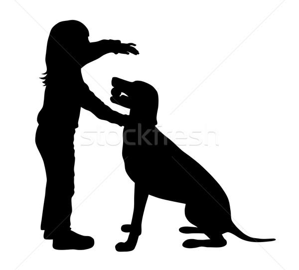Gyermek kutya sziluettek lány jókedv sziluett Stock fotó © oorka