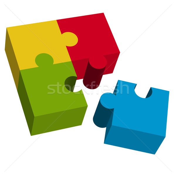 3D puzzle square with loose part Stock photo © opicobello