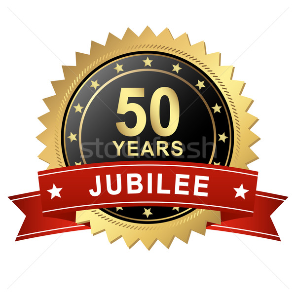Jubilee Button with Banner - 50 YEARS Stock photo © opicobello