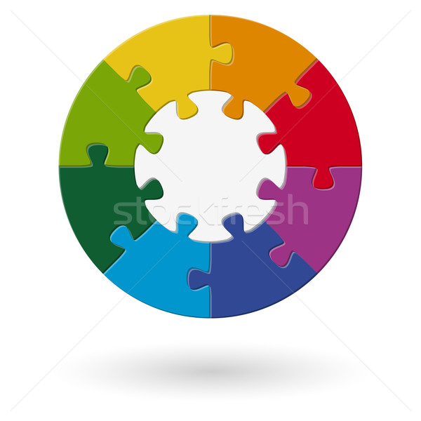 Stock photo: Puzzle round - base with 8 options