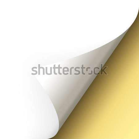 Paper / page turning over bottom left gold Stock photo © opicobello
