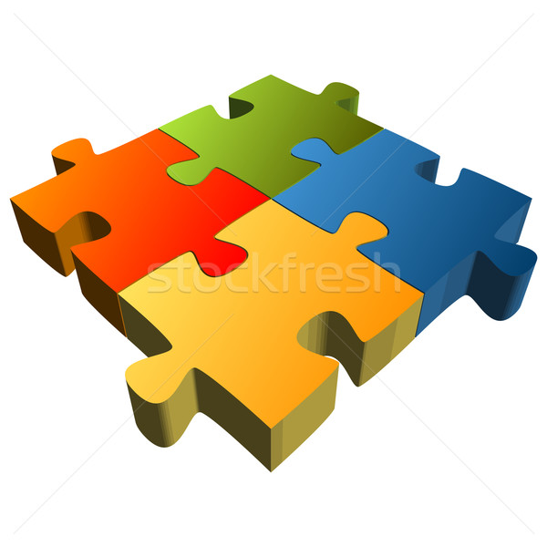 Puzzle with four parts - Teamwork symbolism Stock photo © opicobello