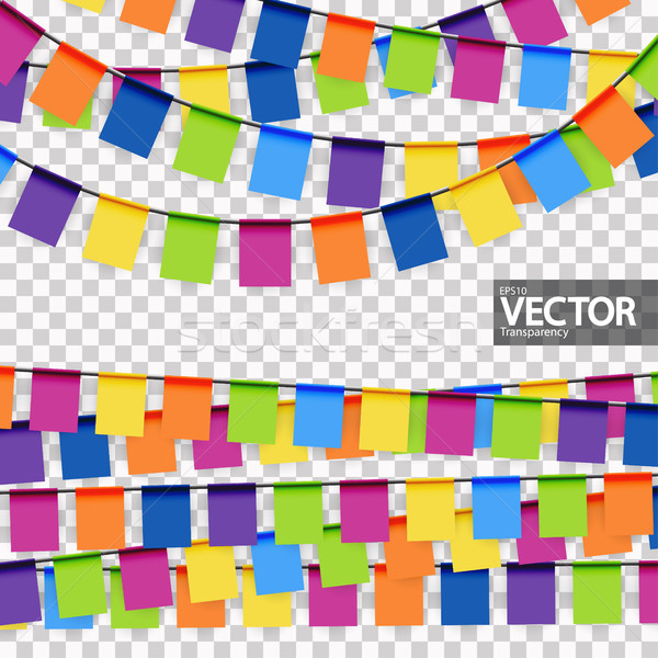 colored party garlands with vector transparency Stock photo © opicobello