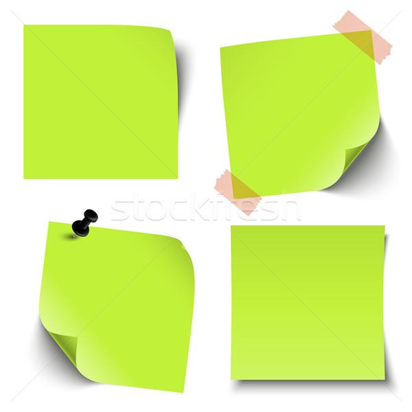 Collectie gekleurd sticky notes kantoor papier groene Stockfoto © opicobello